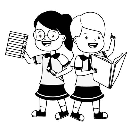 happy girls student with book and sheet back to school vector illustration