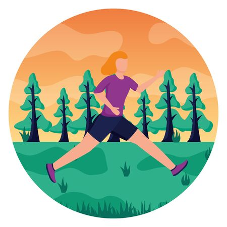 woman practicing running activity in the park vector illustration Zdjęcie Seryjne - 130356147