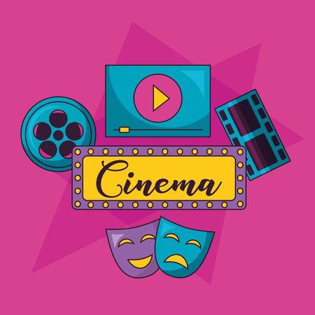 cinema movie billboard mask theater screen vector illustration