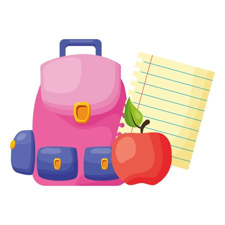 backpack apple paper back to school vector illustration