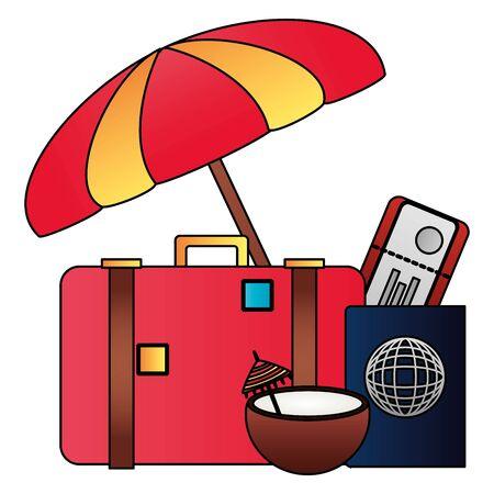 summer time holiday cocktail suitcase umbrella passport tickets vector illustration