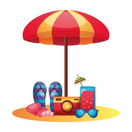 summer time holiday beach umbrella sandals camera sunglasses cocktail shell vector illustration Ilustracja