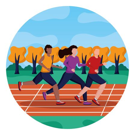 men and woman training running track activity vector illustration 스톡 콘텐츠 - 130356261