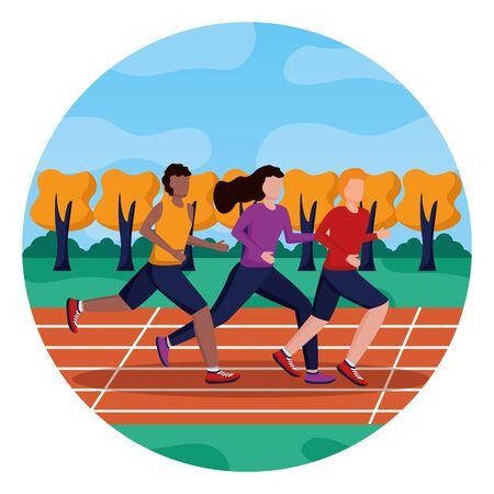 men and woman training running track activity vector illustration 版權商用圖片 - 130356261