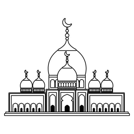 taj mahal mosque building icon vector illustration design