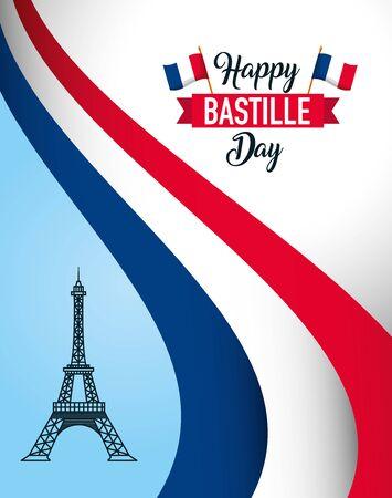 eiffel tower france happy bastille day vector illustration