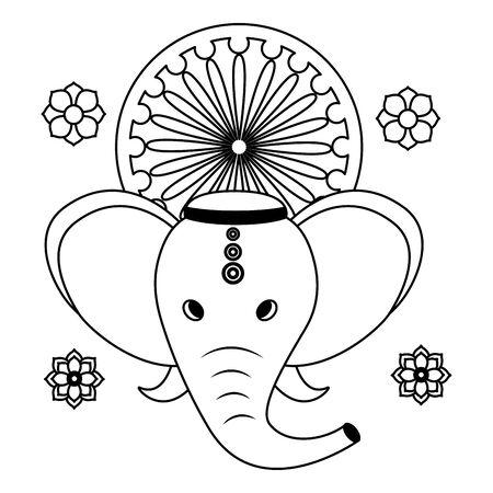 Ganesha elefante indio con diseño de ilustración de vector de chakra ashoka Ilustración de vector