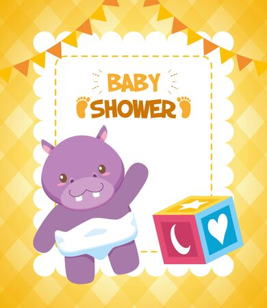 hippo cube baby shower card vector illustration