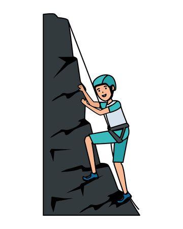 man climbing with rope character vector illustration design Ilustração
