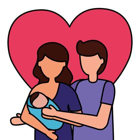 Papá y mamá con embarazo recién nacido y maternidad ilustración vectorial