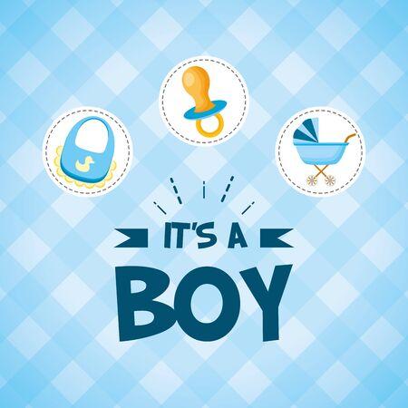 pacifier pram bib its a boy - baby shower card vector illustration