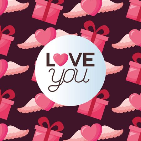Hearts and gifts design, Love valentines day romance relationship passion and emotional theme Vector illustration