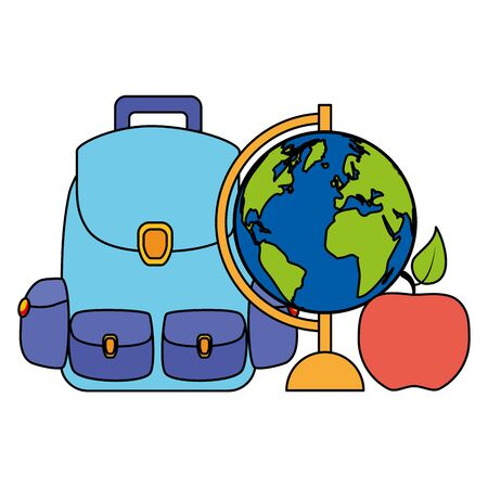 backpack world map apple back to school vector illustration
