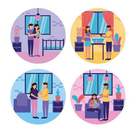 pregnancy and maternity scene mother father baby washing feeding crib room set vector illustration Vektorové ilustrace