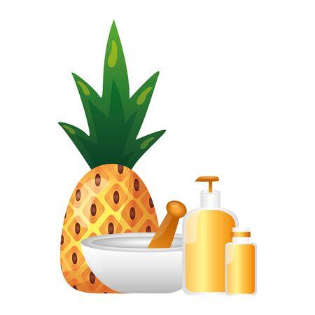 spa pineapple bottle lotion gel vector illustration
