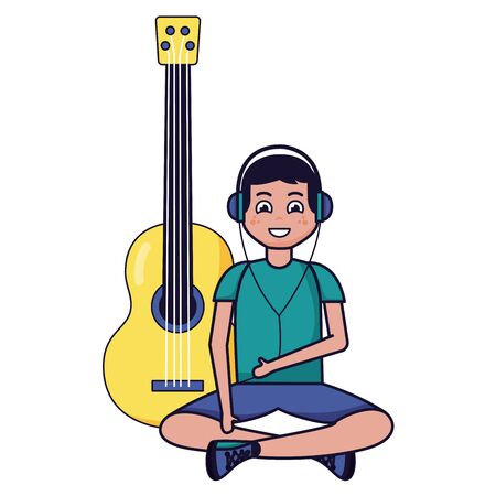 boy sitting with headphones and guitar listening music vector illustration