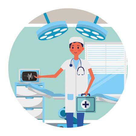 male doctor character consultation room vector illustration Stock Illustratie