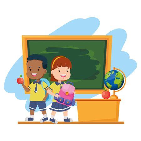 boy and girl students backpack chalkboard desk map apple back to school vector illustration