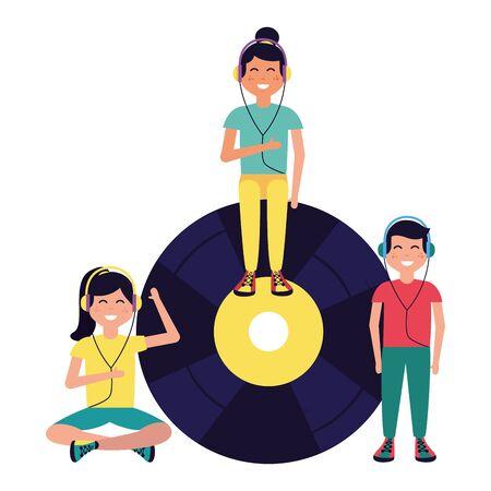 Grupo de niños con auriculares disco de vinilo escuchando música ilustración vectorial