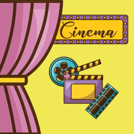 Cinema icon set design, Movie video film media entertainment show and event theme Vector illustration Stock Vector - 130356536