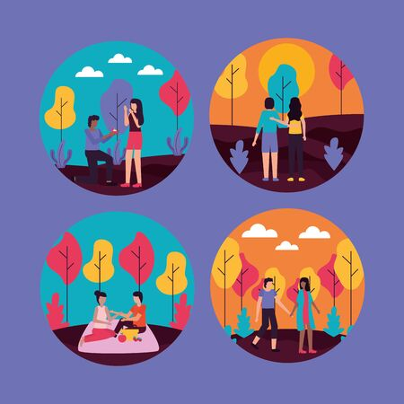 couples romantic differents activities outdoorsvector illustration