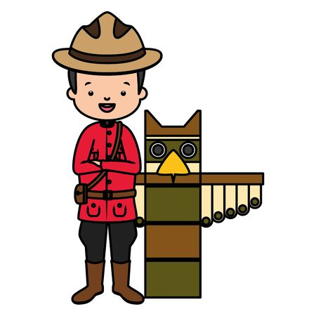canadian mounted police totem happy canada day vector illustration  イラスト・ベクター素材