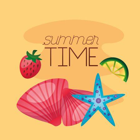 summer time holiday seashell and starfish vector illustration