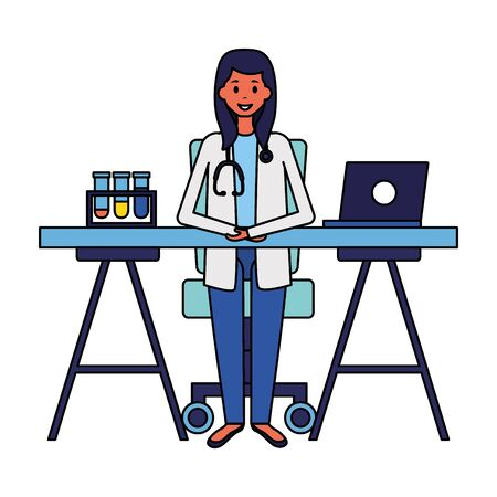 medical doctor in the office with laptop and test tubesvector illustration