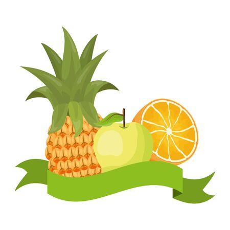pineapple orange apple tropical fruits banner sticker vector illustration Ilustracja