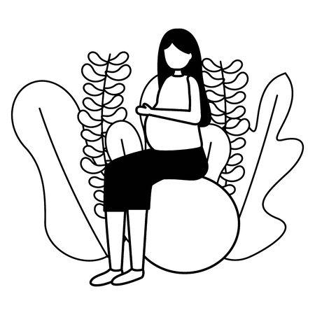 woman pregnancy belly on yoga ball scene flat vector illustration Ilustração