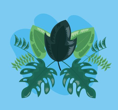 green foliage plant nature decoration tropical leaves vector illustration