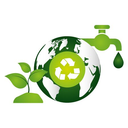 eco friendly environment world faucet water recycle plant vector illustration