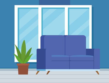 home livingroom with window and sofa design to interior decoration, vector illustration