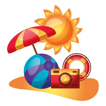 summer time holiday umbrella beachball float camera sun beach vector illustration