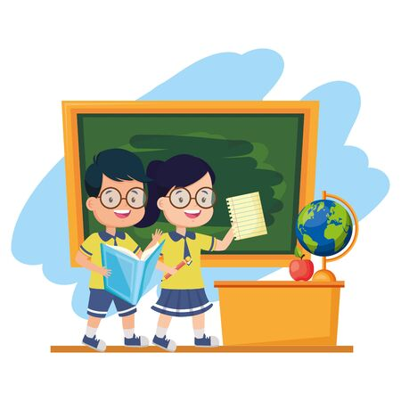 boy and girl student with book sheet chalkboard desk map apple back to school vector illustration Çizim