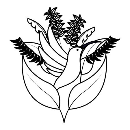 foliage nature leaves hummingbird white background vector illustration Illustration