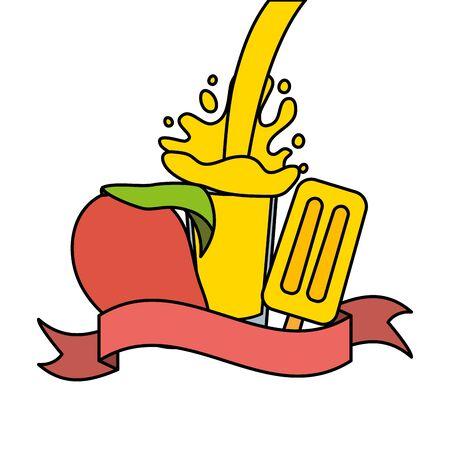 juice ice cream mango splash tropical fruits vector illustration