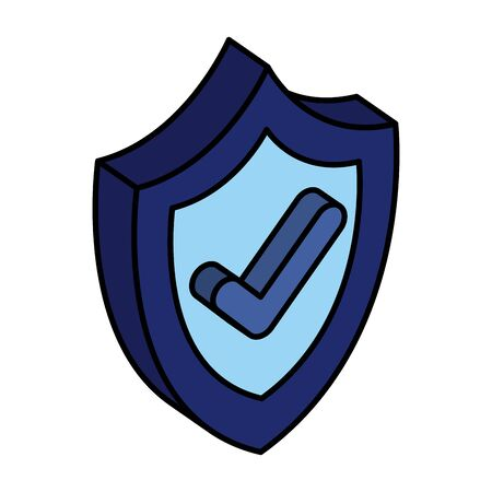 shield security with ok symbol vector illustration design  イラスト・ベクター素材