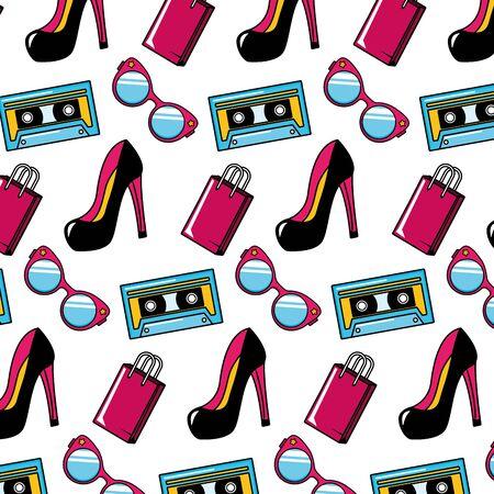 high heel shoes fragrance cassette eyeglasses background pop art elements vector illustration