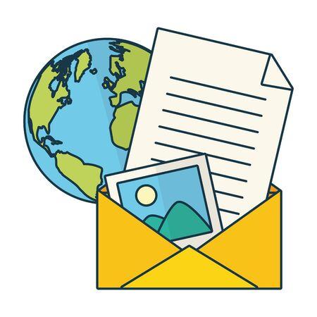 correspondence world send email vector illustration design