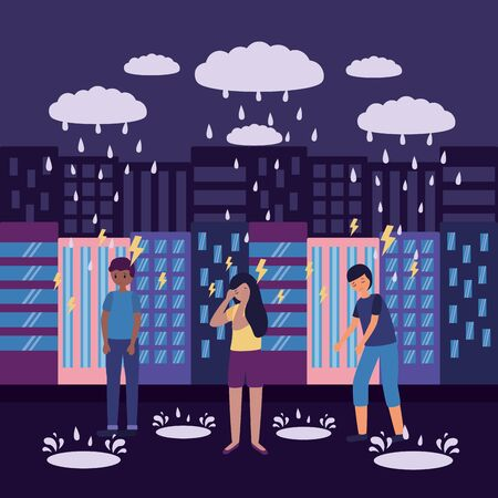 outdoor city guys depressed sadness vector illustration Stock Illustratie