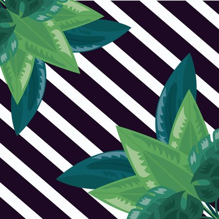 tropical leaves foliage stripes dark background vector illustration