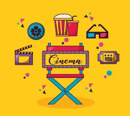 billboard chair 3d glasses reel clapboard cinema movie vector illustration Illustration
