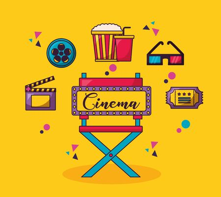 billboard chair 3d glasses reel clapboard cinema movie vector illustration Illustration