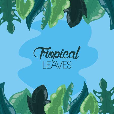feuilles tropicales, tache, feuillage, fond bleu, vecteur, illustration