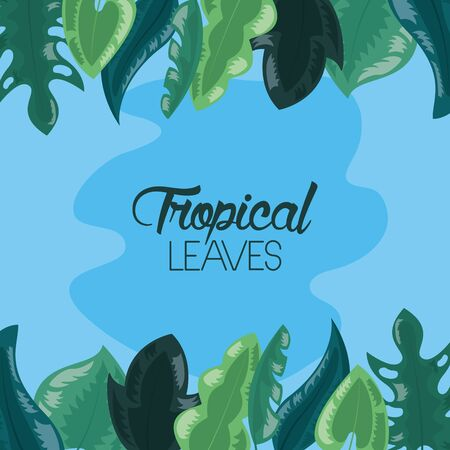tropical leaves foliage spot blue background vector illustration 向量圖像