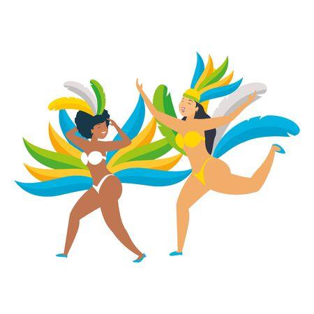 dancers exotic feathers brazil carnival celebration vector illustration Foto de archivo - 130357096