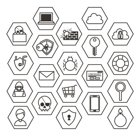 bundle of cyber security monochrome set icons vector illustration design
