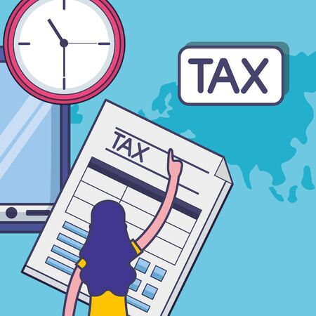 Avatar woman with tax design, Money finance accounting commerce market payment and government theme Vector illustration