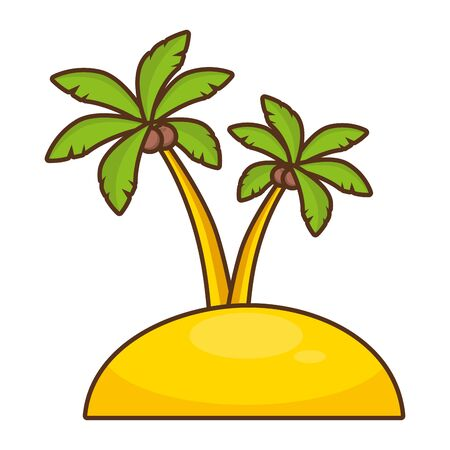 beach palms sand vacations image  vector illustration Stock fotó - 130357190